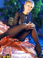 Horny leggy whore in black pantyhose