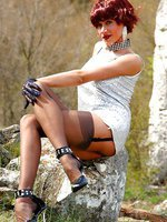 Leggy MLF LilyWOW in vintage sheer stockings outdoor