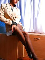 Leggy secretary LilyWOW in thin vintage stockings and high heels