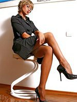 Hot office whore LilyWOW in sheer vintage stockings and stilettos