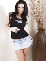 Busty babe, Jayden Jaymes, looks smoking hot in her tight black tank top and tight denim mini skirt and looks even better taking them off!