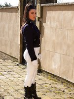 Miss Hybrid in riding wear