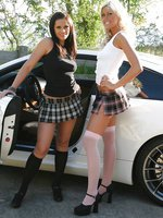 Brunette HOttie Ann Angel and Blonde Babe Tiffany Alexis in plaid schoolgirl skirts
