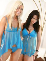 Brunette Babe Ann Angel and Blonde Babe Tiffany Alexis in sheer lingerie