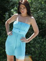 Brunette Hottie Ann Angel in a tiny blue summer dress