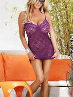 Gorgeous busty blonde babe, Rachel Aziani, poses outdoors in her sexy purple lace lingerie and nothing else!