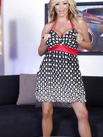 Beautiful blonde babe, Rachel Aziani, lifts her dress and exposes her tight pussy and huge boobs.