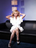 Rachel Aziani looks stunning flashing her big boobs and sweet pussy while dressed in her white dress, heels, and thigh high fishnets!