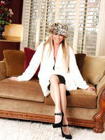 Busty blonde, Rachel Aziani, loves getting the chance to wear her fur coat and sexy hat, and flashing her sweet pantiless pussy under her hot black skirt!