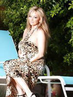 Sexy blonde, Rachel Aziani, gets frisky outdoors and shows, strips off her leapord print dress, and shows off her big boobs and sweet shaved pussy!