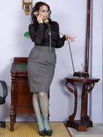 jerking pantyhose secretary gets cum on glasses