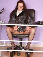 busty strapon secretary in fishnet stockings