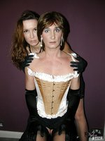 Sexy crossdresser in corset worshipping Nylon Jane