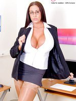 Big Tits Secretary Emma Butt Spreads her Tasty Assets in Skin Tone Stockings