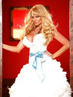 Kelly in fancy white dress, shows you her snatch hiding under it.
