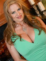 Kelly Madison in a green sexy dress.