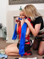 Hot busty milf has a bit of rope play fun with sweet blonde before gagging herself