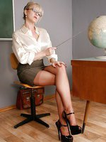 Office Slut in Seamed Stockings