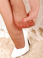 Angel in brown barefeet stockings