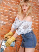 Angel as building worker in tender skinned colored stockings