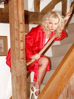 stair posing in silk and nylons