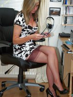 sheer panty delights in the office