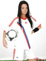 Russian babe in soccer gear strips