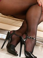 Astrid - Leggy blonde MILF tries on new shoes in sheer black pantyhose