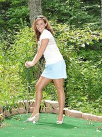 Golfing in pantyhose and heels